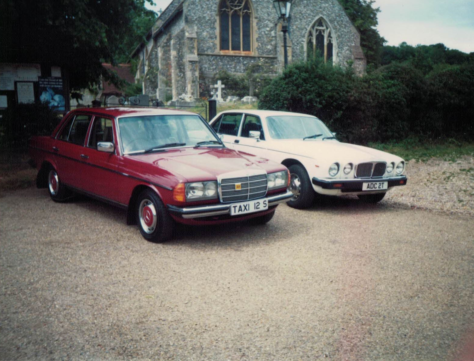 Taxis at Hughenden Church, High Wycombe - circa 1990